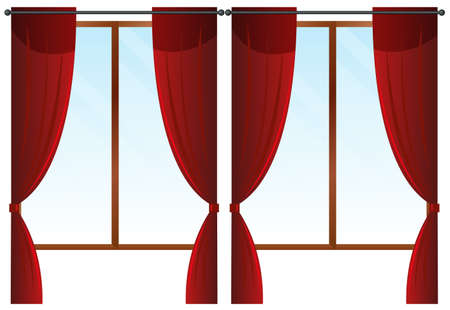 Windows with red curtains illustration