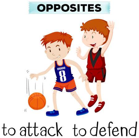 defend: Flashcard for opposite words attack and defend illustration Illustration