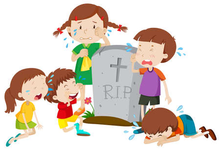 Gravestone scene with children crying illustration