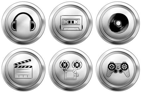 casette: Icon design for entertainment equipments illustration Illustration