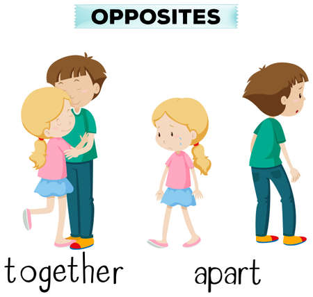 apart: Opposite words for together and apart illustration