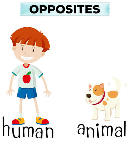 dog: Opposite words for human and animal illustration