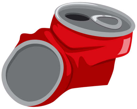 crushed: Red can being crushed illustration Illustration