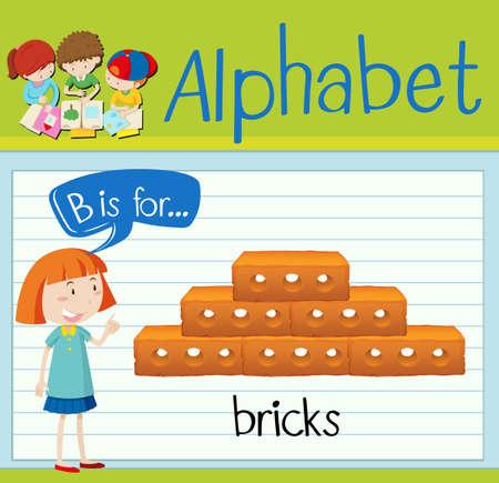 letter: Flashcard letter B is for bricks illustration