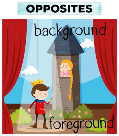 foreground: Opposite words for background and foreground illustration Illustration