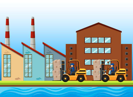 engine: Factory scene with two forklifts working illustration