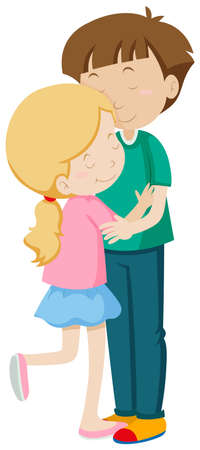 Man and woman hugging illustration