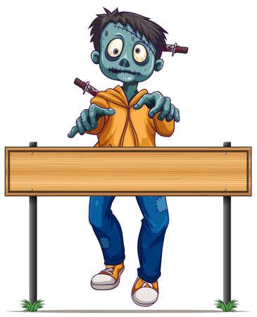character cartoon: Zombie walking behind wood sign illustration
