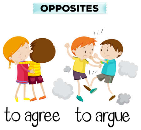 estar de acuerdo: Palabras opuestas de la ilustración de acuerdo y argumentan