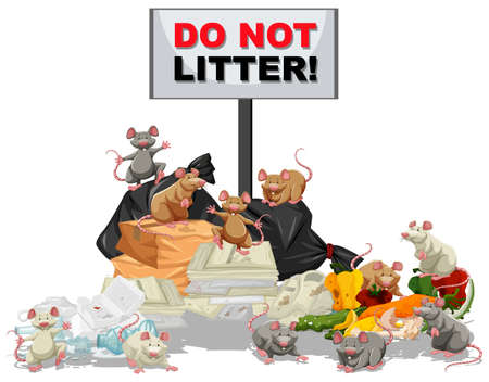 waste heap: Rats searching for food at the litter pile illustration Illustration