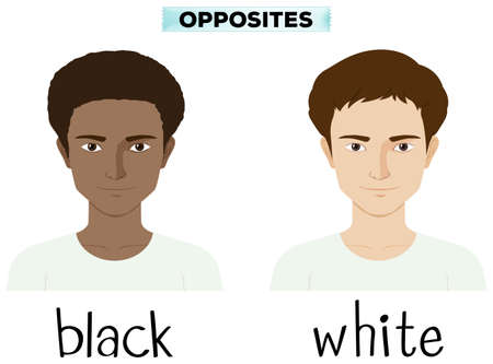 skin color: Opposite adjectives for black and white illustration Illustration