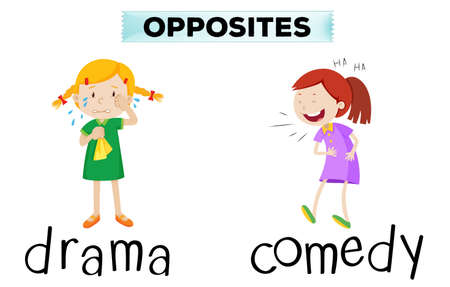 funny pictures: Opposite words with drama and comedy illustration