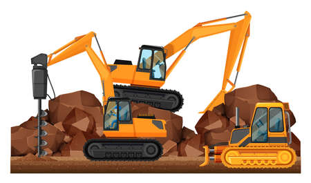 Construction vehicles working at site illustration