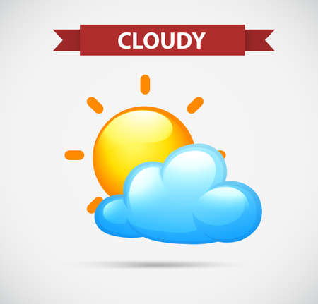 nubes caricatura: Icono del tiempo con la ilustración de nubes y sol