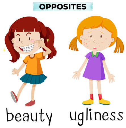 ugliness: Opposite words for beauty and ugliness illustration Illustration