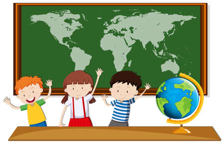geography: Three students study geography in class illustration