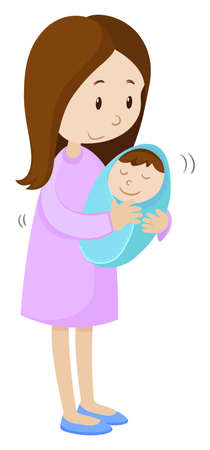 Mother holding newborn baby wrapped in blue illustration Illustration