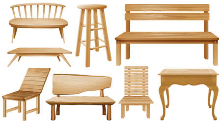 Different designs of wooden chairs illustration