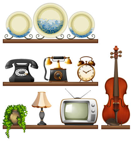 Vintage collection with entertainment devices illustration Illustration