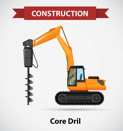 Construction icon with core drill illustration