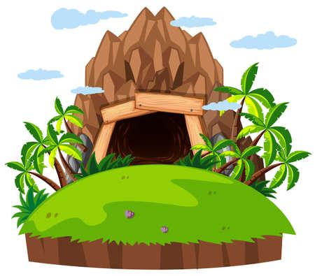 cavern: Mine entrance on the island illustration Illustration