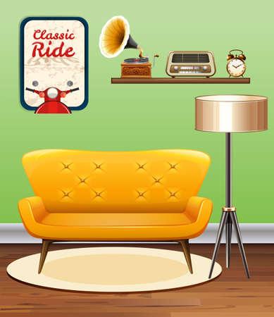 vintage: Room decorated with vintage objects illustration Illustration