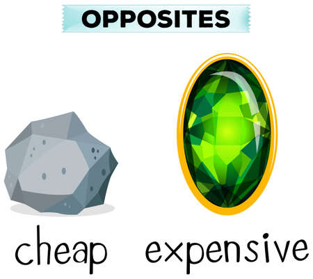 Tegenover woorden naar goedkope en dure illustratie