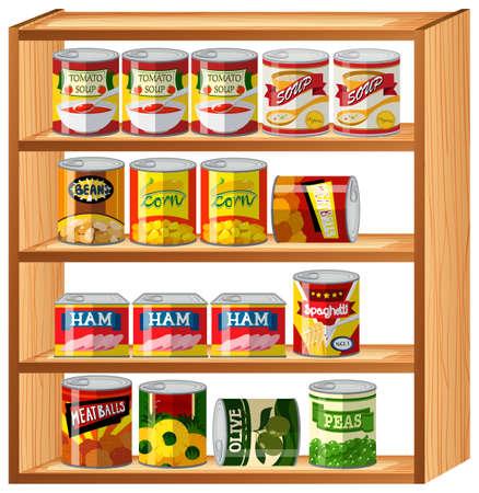 food: Many canned food on wooden shelves illustration Illustration