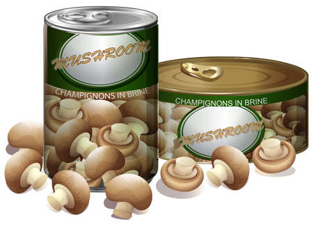 tin packaging: Mushroom in aluminum can illustration Illustration
