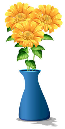 Sunflowers in blue vase illustration