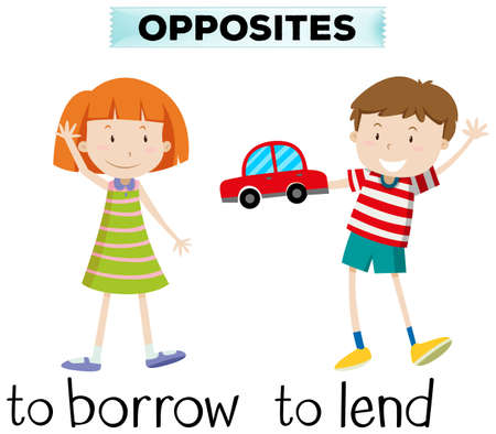 Opposite wordcard for borrow and lend illustration