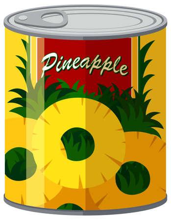 Ananas in Aluminiumdose Illustration Vektorgrafik
