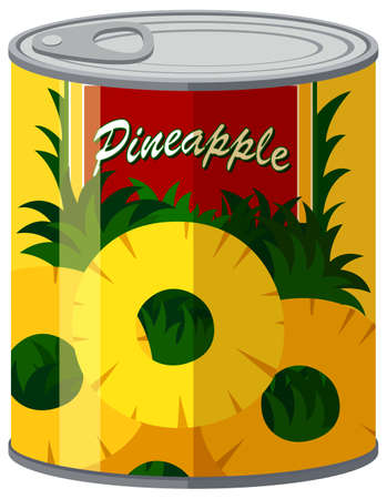 canned: Pineapple in aluminum can illustration
