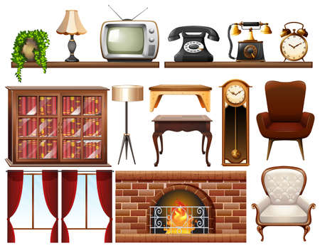 Different vintage objects on white background illustration