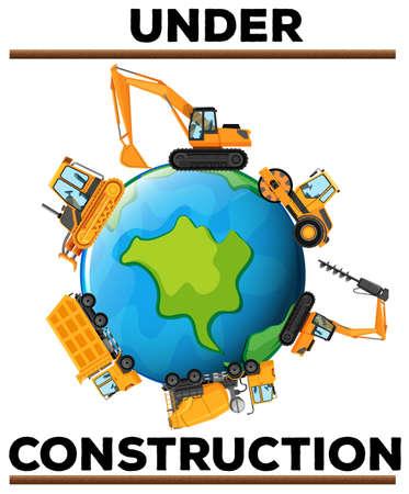地球のイラスト上のマシンと建設のポスターの下で