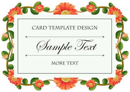 calendula: Card template with calendula flowers frame illustration Illustration