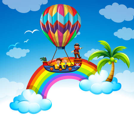 infancia: Kids riding on balloon over the rainbow illustration