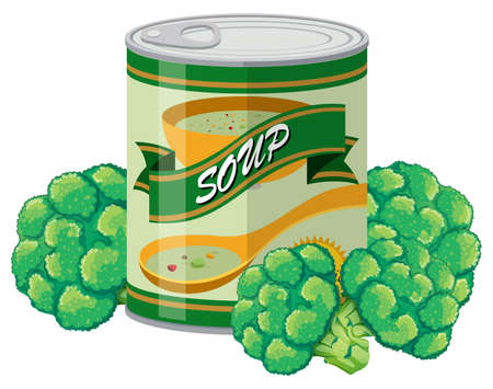 brocolli: Brocolli soup in can illustration