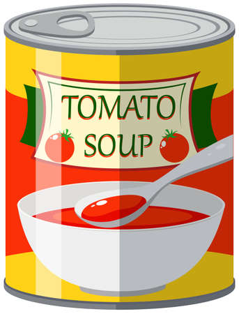 Tomato soup in can illustration Illustration