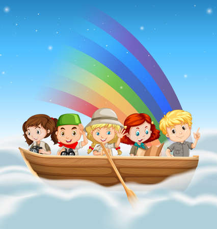 rowboat: Happy children riding in boat over the rainbow illustration
