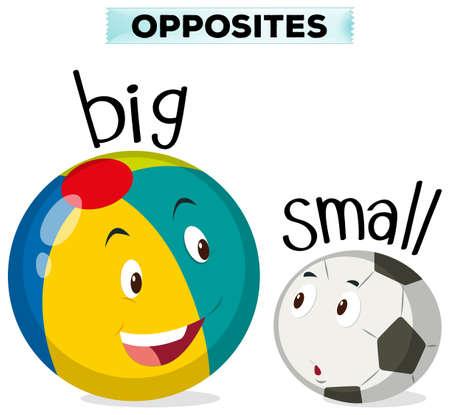 Mots opposés pour une grande et petite illustration
