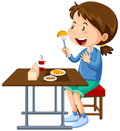 Girl eating at the canteen dining table illustration Stock Illustratie