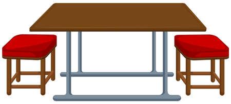 wood chair: Canteen table and chairs illustration