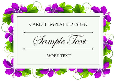 colorful frame: Card template with purple flowers illustration
