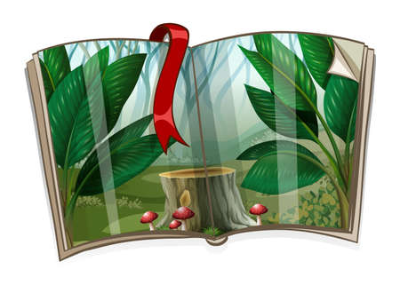 jungle plants: Book with forest scene illustration