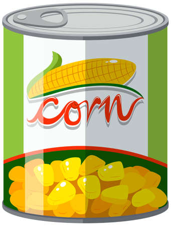 Corn in aluminum can illustration