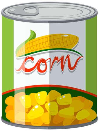 Corn in aluminum can illustration