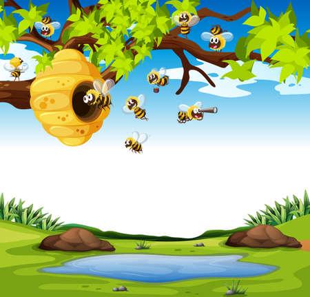 sky: Bees flying in the garden illustration