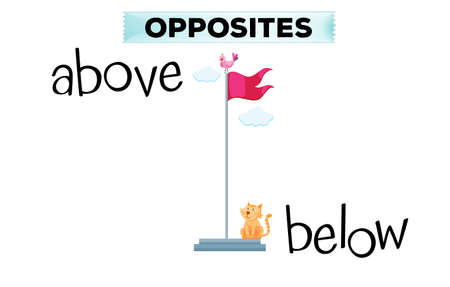 opposite: Opposite words for above and below illustration