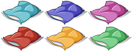 Pillows in six different colors illustration